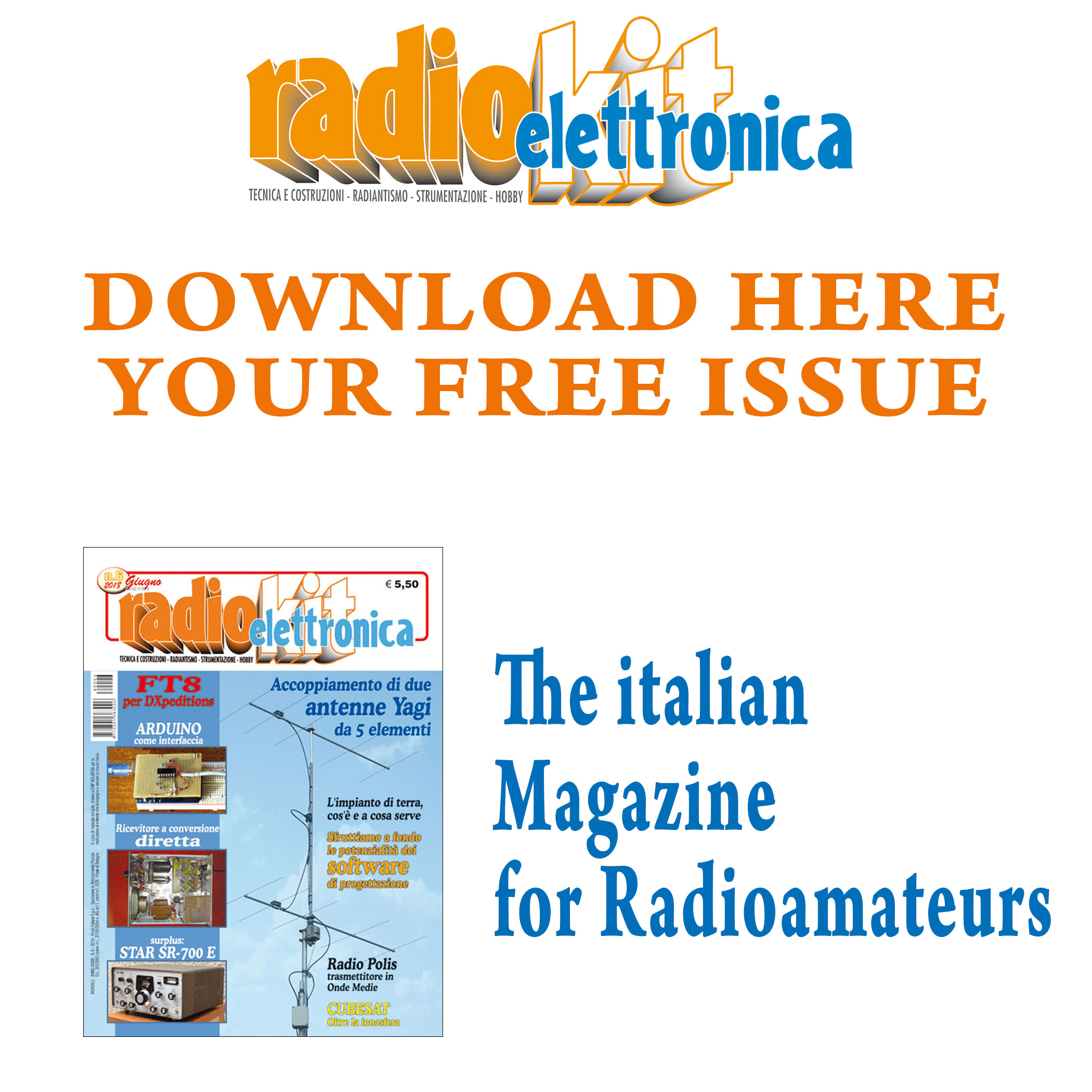 Download Here your free issue of Radiokit Elettronica